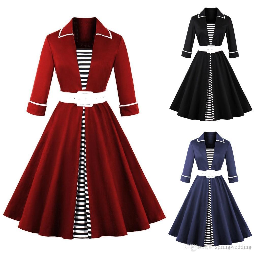 2018 Autumn Black Striped Women Long Sleeve Vintage Dresses Plus ...