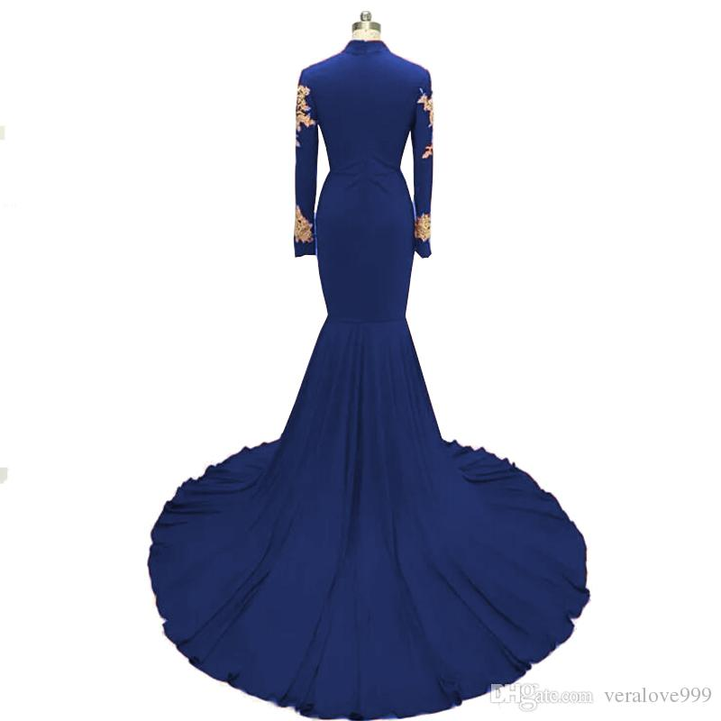 Real Images Royal Blue Prom Dress Long Sleeve Gold Lace Appliques High Neck Mermaid Evening Dresses Black Girl Plus Size Formal Gowns