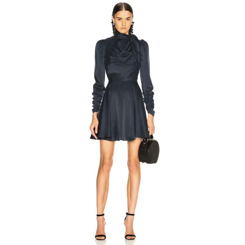 Großhandel 2018 Herbst   Herbst Luxus Braand Runway Designer Mode  Rollkragen Bogen Lace Up Band Dünnes Kleid Büro Dame Vestidos Von Yyliang,   56.83 Auf De. 89db08eba3