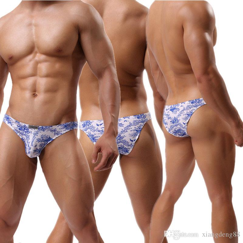 aab61eac7 Sexy Mens Underwear Lingerie Floral Bulge Pouch Briefs Thongs ...