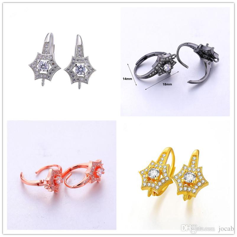 Latest Design Copper Zircon Rhinestone Crystal Earrings Clasps Hooks Accessories Hoop Earring DIY Findings Jewelry Making Ear Cuff Wholesale