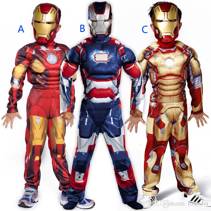 Boys Halloween Iron Man muscle style Cosplay suits 2018 New Kids Avengers  Superhero costume cosplay clothes mask 2pcs sets B