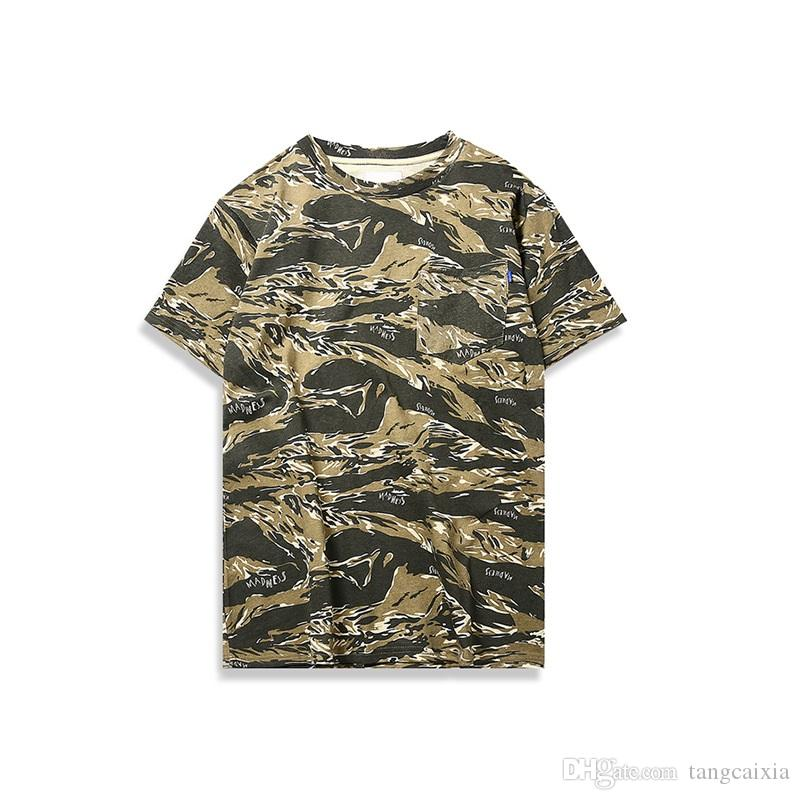 Fashion designer Men Pure Cotton T shirt Army Camouflage Short Sleeve Pullover Tee Shirt High Street Clothes