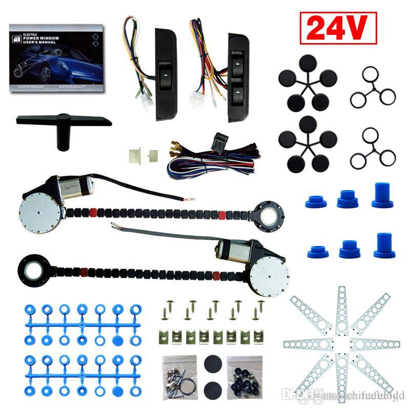 Universal 24V Auto / LKW 2-Türer Electric Power Fenster Kits 3pcs / Set Moon Switches und Harness # 4421