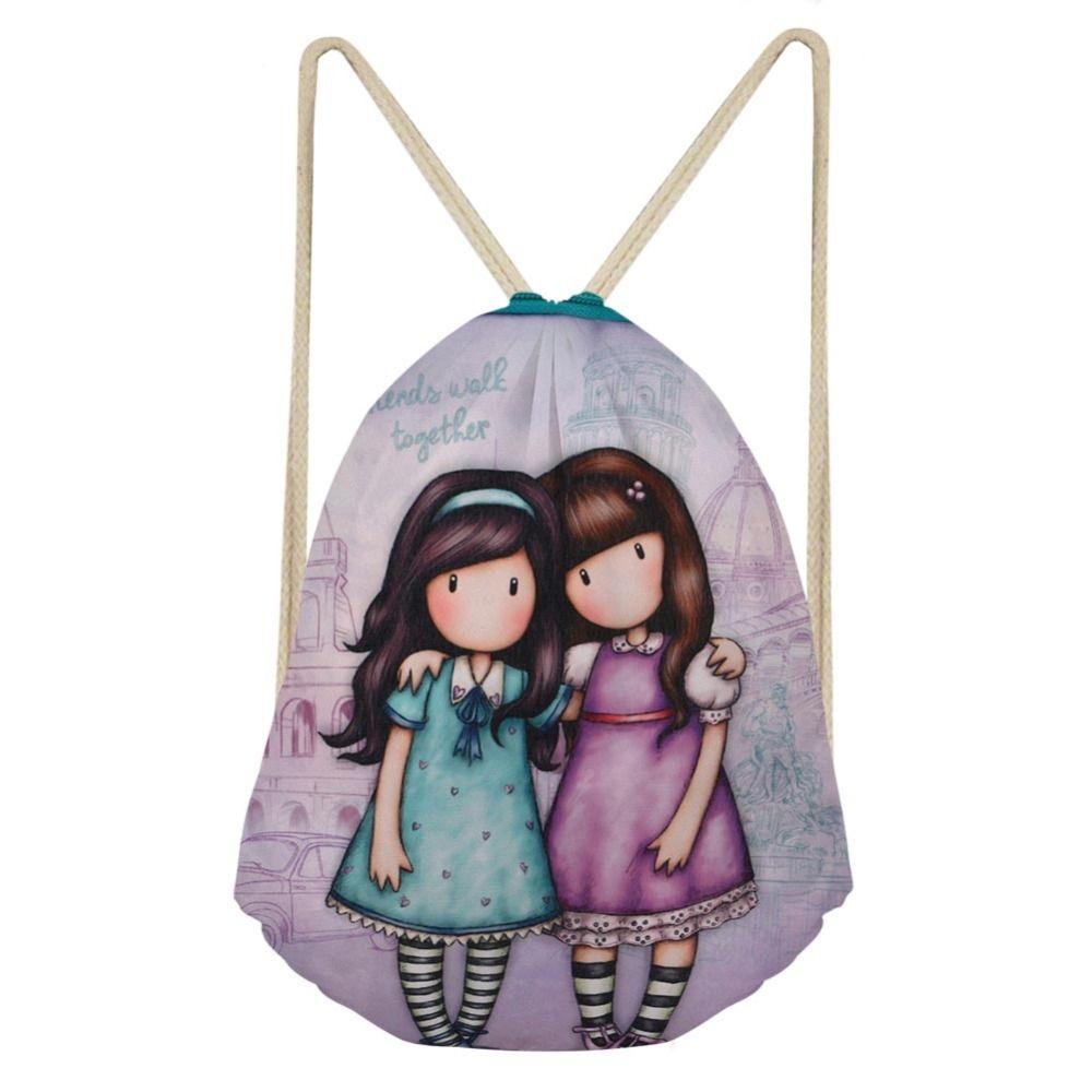 Grosshandel 3 Stuck Frauen Zeichnen String Bag Funktion Rucksack Mini