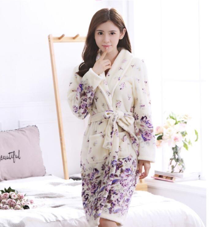 95b8edbb73 Brand Ladies Autumn Winter Women s Flannel Gown Bathrobe Robes ...