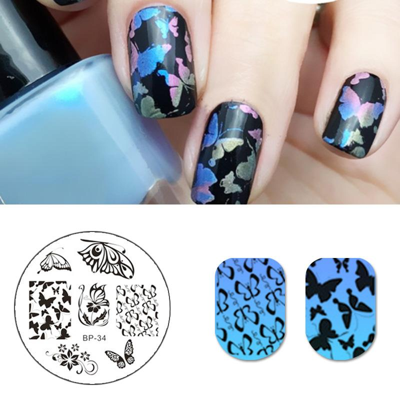 BORN PRETTY Romantic Butterfly Patterns Nail Art Stamp Template ...