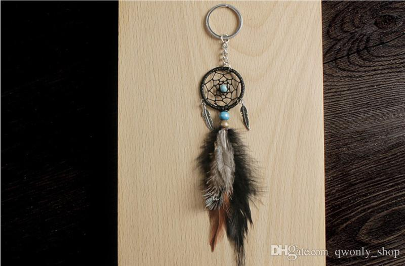 Mini Dreamcatcher Keychain Car Hanging Handmade Vintage Enchanted Forest Dream Catcher Net With Feather Decoration Ornament