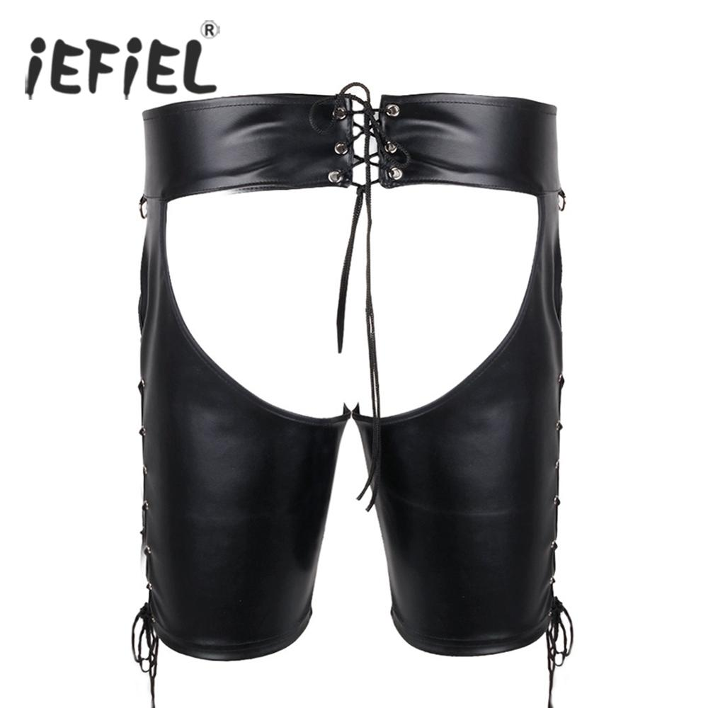 3bece0c1f iEFiEL Brand Sexy Men Lingerie Faux Leather Lace-up Open Butt Shorts  Underwear Underpants for Gay Men s Panties Size M-XXL