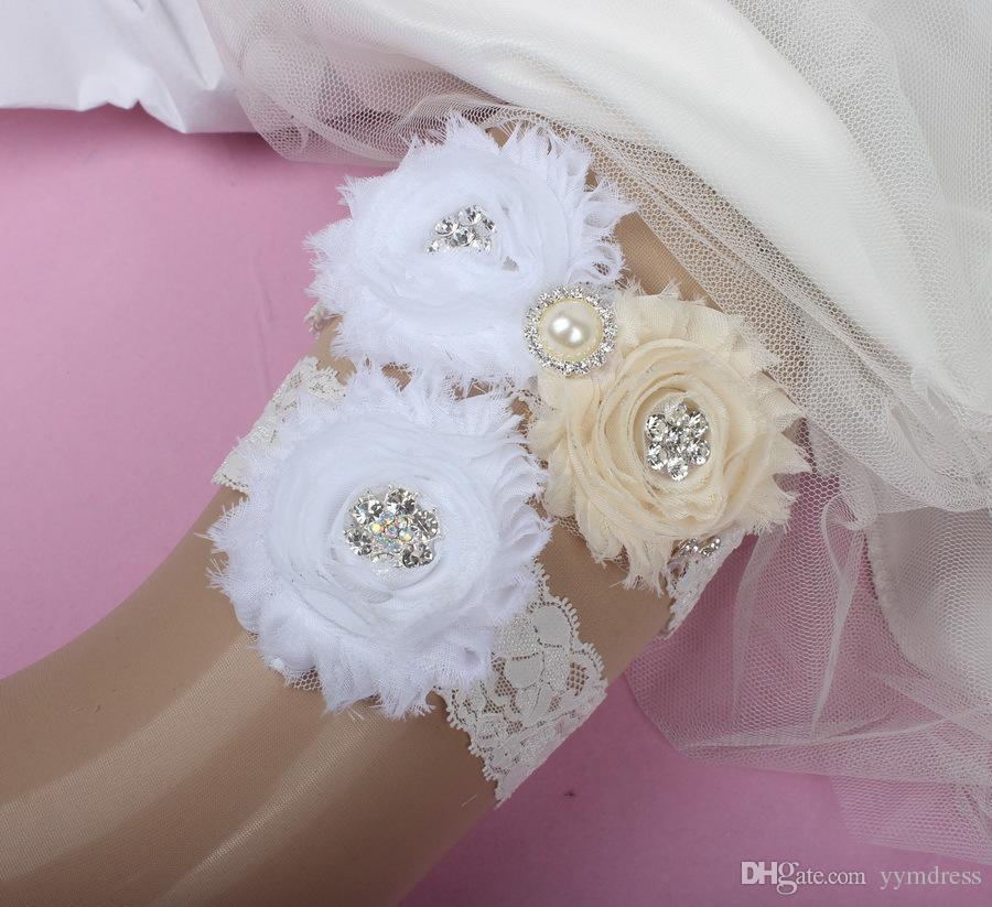 Wedding Garters For Bride Lace Bridal Wedding Garters Belt set Lace Rhinestones Crystals Pearls Plus Size Chiffon Flowers