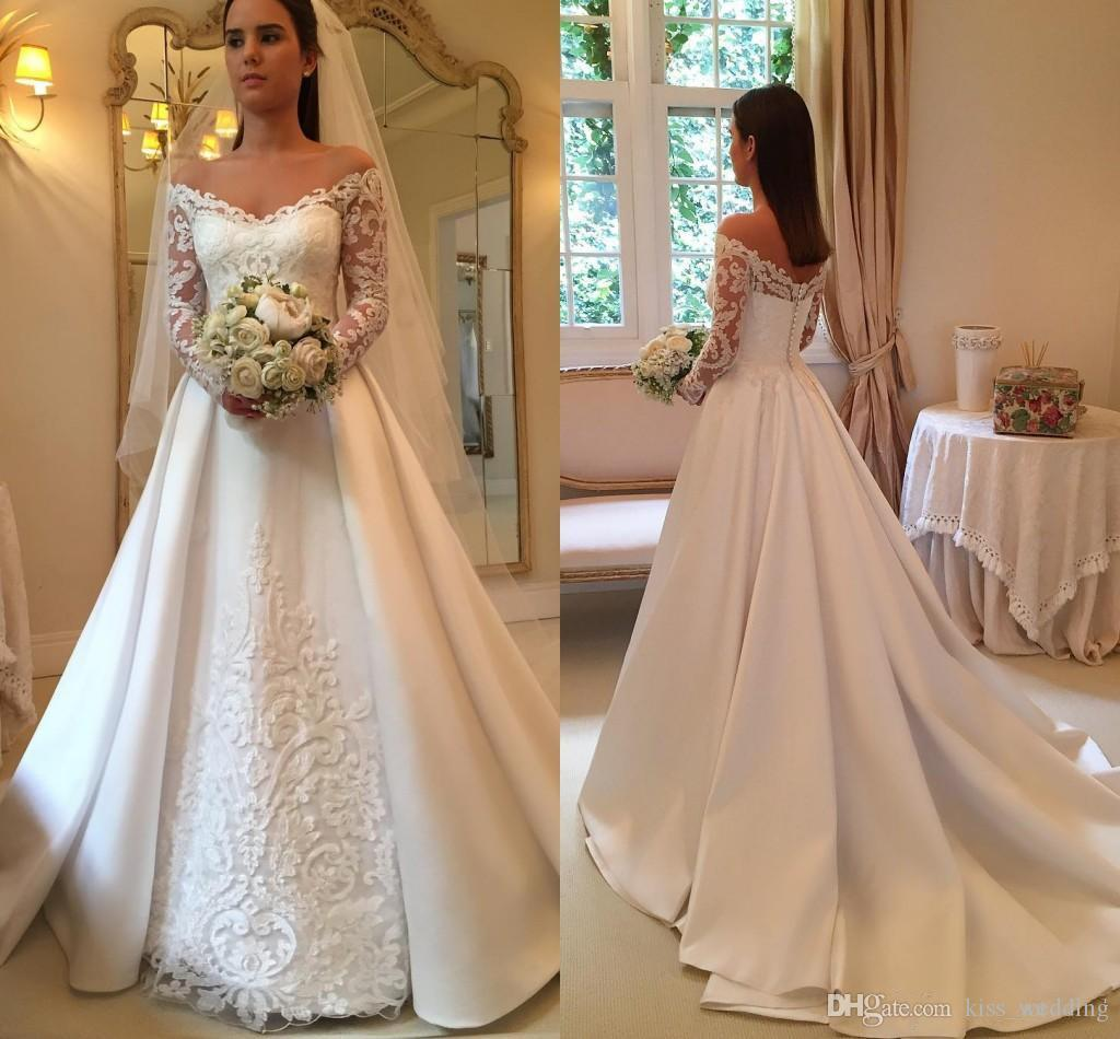 Discount Vintage Satin Lace Wedding Dress Bridal Gown Off The ...