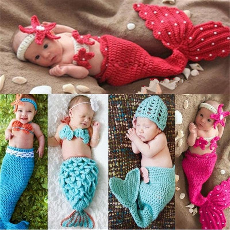 Red And Hot Pink Newborn Baby Crochet Mermaid Costume Princess Girl