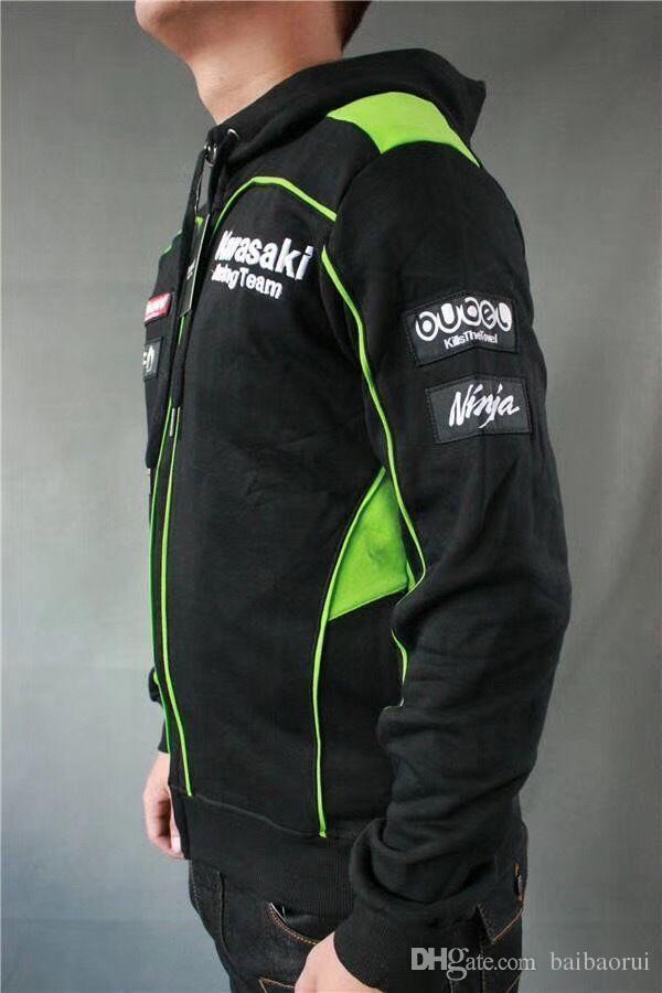 Sweat à capuche Homme Moto GP Kawasaki Motocard Team Zip Up 2018 - Polaire-Noir / Vert