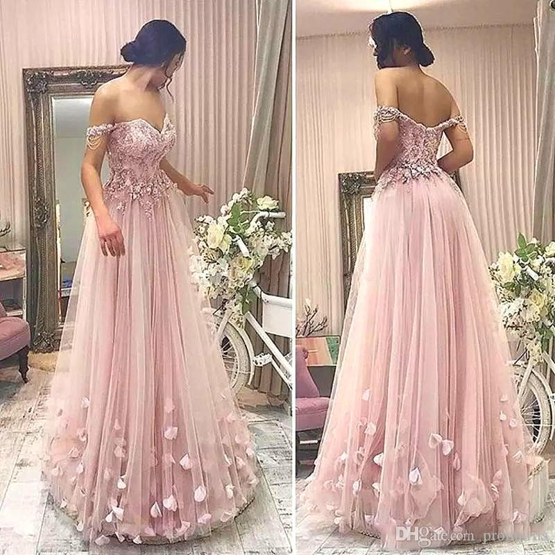 c511bc9be0 Vintage Blush Pink Tulle Prom Dresses Off Shoulder Beading Appliques Zipper  Backless Evening Gowns Fairy Tutu Long Prom Party Dresses