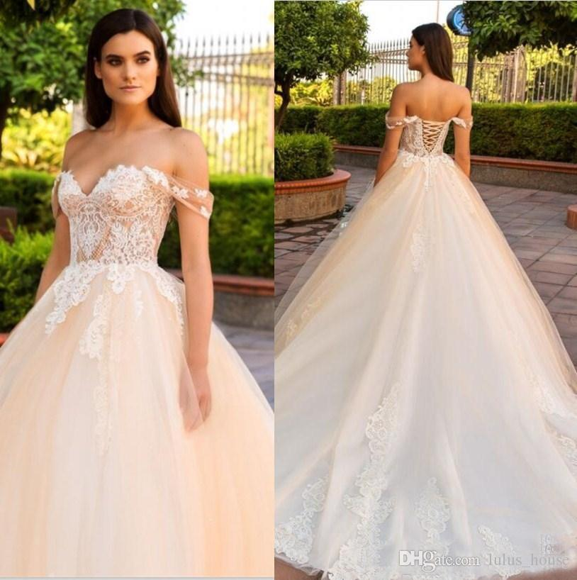 d3eb1e909b6 Discount Champagne 2018 Lace Wedding Dresses Off The Shouder Lace Up Back Plus  Size Cheap Bridal Gowns Sweetheart Neck Sweep Train Dubai Wedding Gown  Satin ...