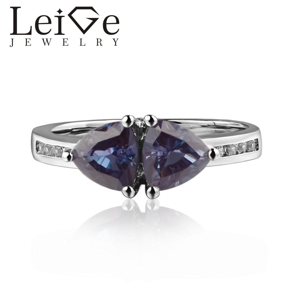 c300cdaa5c 925 Silver Lab Alexandrite Ring Trillion Cut Prong Setting Color Changing  Gemstone Engagement Rings for Women Romantic Gifts