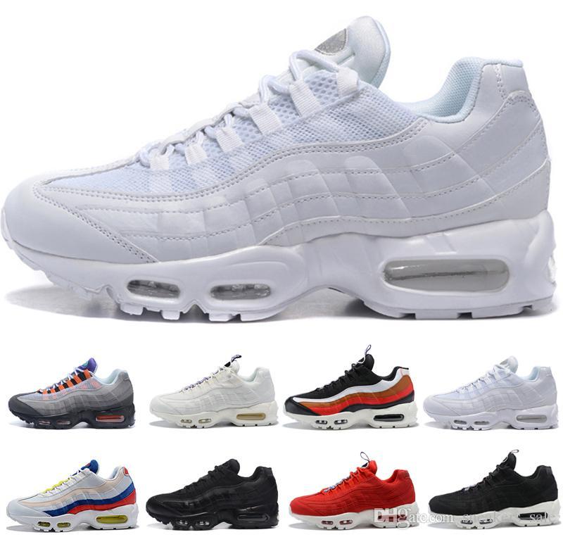 pretty nice 39b82 6d976 Acheter Nike Air Max 95 Hot 95 95s Hommes Femmes Chaussures De Course OG  Neon Triple Noir Blanc SE TT Noir Rouge Ce Que Les Formateurs Chaussures De  ...