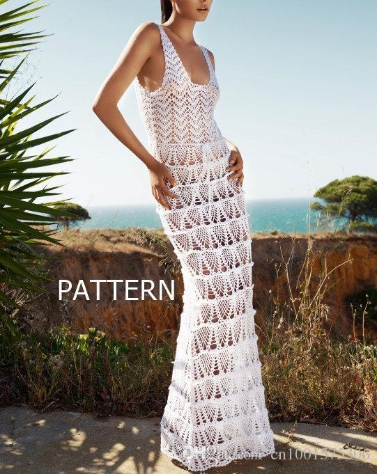 crochet à la main PATTERN-longue robe sexy au crochet d'été jupe haut de plage soirée mariage mariée 6 maxi