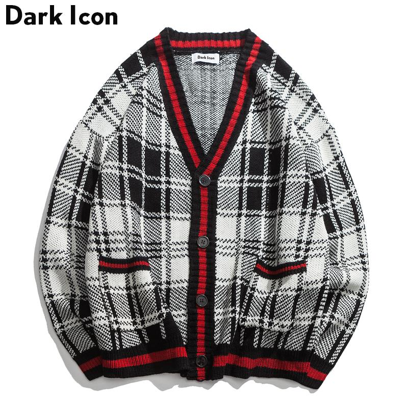 d292e939d774d8 Knitted Plaid Cardigan Sweater Men High Street V-neck Oversized Sweater for  Men Loose Vintage Men's Sweaters Male Clothing Men's Sweaters Men's Sweater  ...