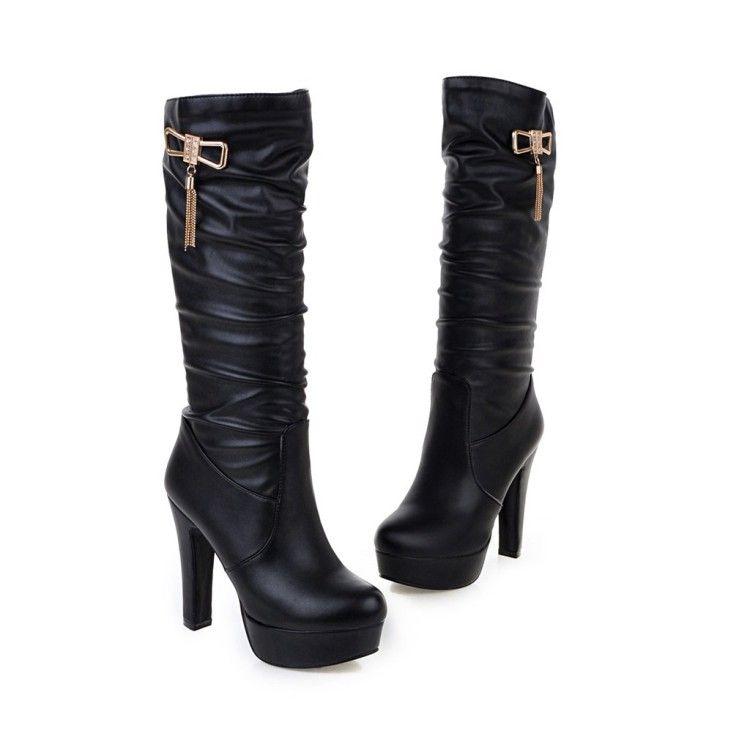 baace875 Compre Zapatos De Mujer Zapatos De Vestir Tacones Altos Plataforma Diamantes  De Imitación Bombas Moda Botas A Media Pierna Tacón Grueso Beige Blanco  Negro A ...