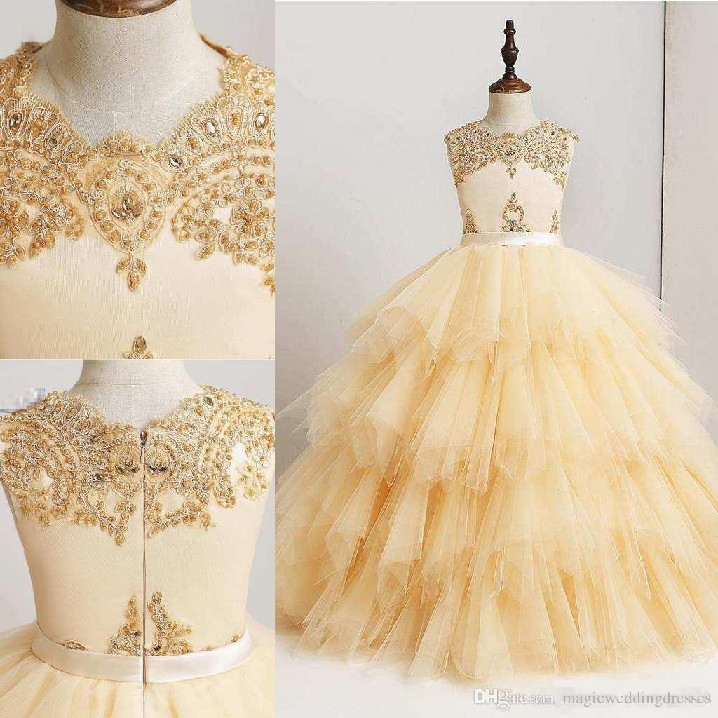 Lovely light yellow flower girl dresses 2018 with lace appliques lovely light yellow flower girl dresses 2018 with lace appliques beaded tier tulles little girl birthday party gowns pageant prom wears big girl wedding mightylinksfo