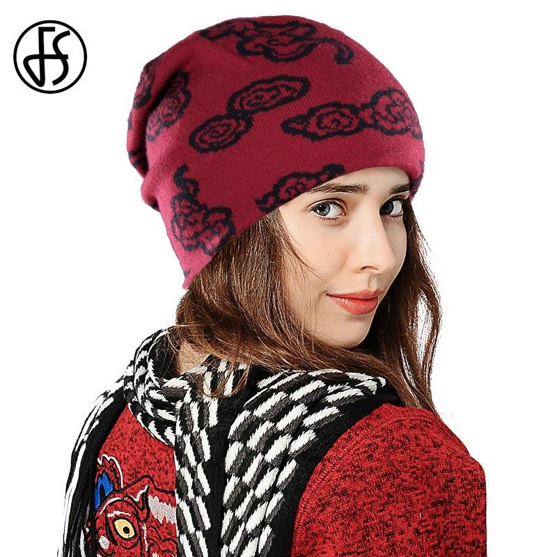 2485849b835 FS Clouds Pattern Cashmere Beanies Ladies Knitted Hat Thick Autumn Winter  Warm Elegant Women Hats Female Caps Double Deck 2018 Slouch Beanie Ski Hats  From ...