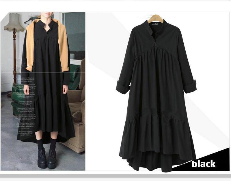Compre Vestido De Manga Larga De Talla Grande Vestido De Noche De Mujer De  Moda Casual Flojo Vestido Largo De Primavera De 2018 Nuevos Vestidos De  Mujer XL ... 78d900683820
