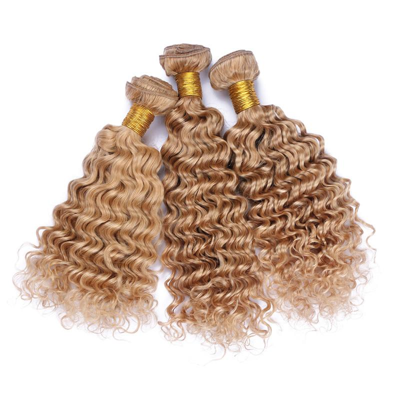 9A Virgin Peruvian Honey Blonde Human Hair Weave Bundles #27 Light Brown Human Hair Deep Wave Bundle Deals Deep Wavy Double Wefts