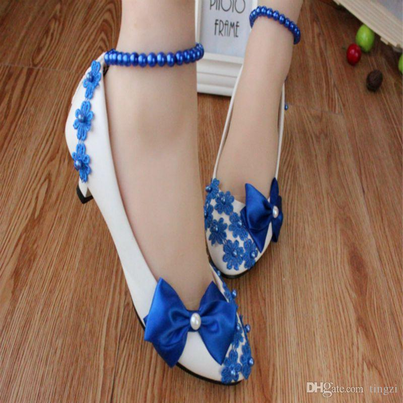 Royal Blue Bow Perles Bretelles Blanc Chaussures De Mariage Chaton Talons Bridal Chaussures Embellissement Chaussures Pompes Designer Chaussures