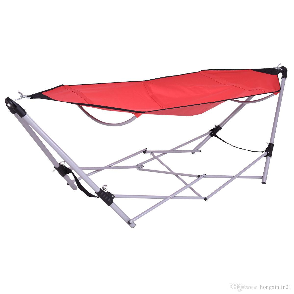 Red Portable Folding Hammock Lounge Camping Bed Steel Frame Stand W