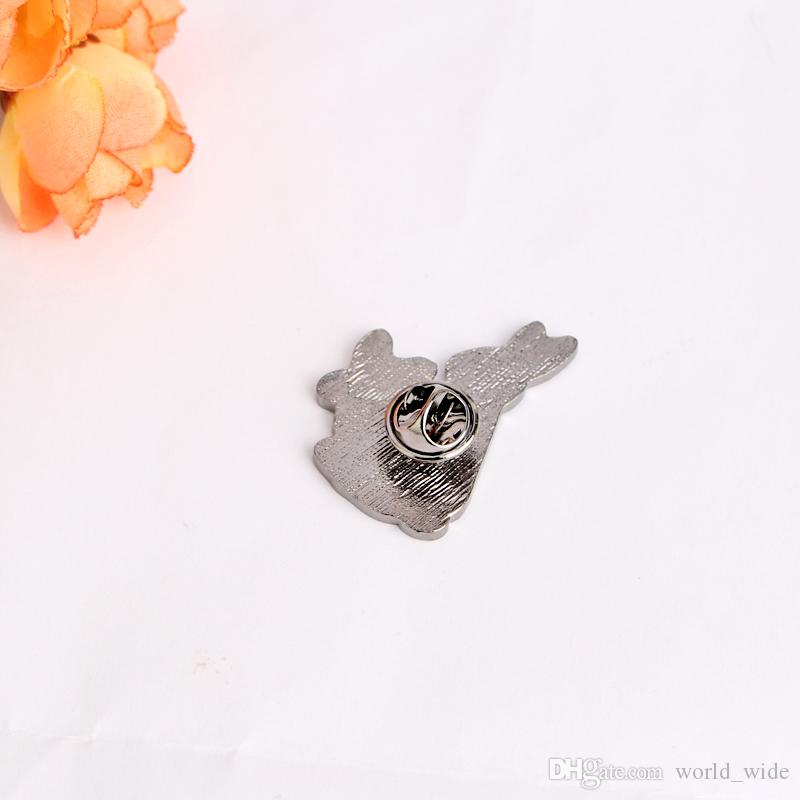 soft Enamel Pins White Evil Rabbits Brooch Pin Kawaii Animal Broches Jewelry Gift For Child Jacket Badge