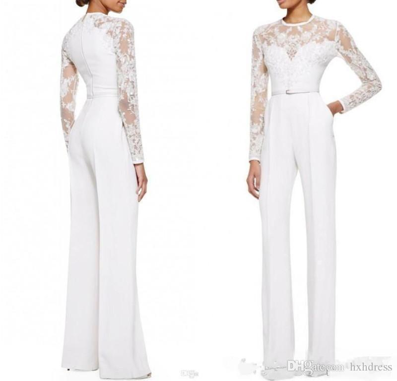 2019 nouveau Blanc Mère De La Mariée Pantalon Costume Combinaison Avec Manches Longues En Dentelle Orné Femmes Formelle Soirée Porter Custom Made 2017
