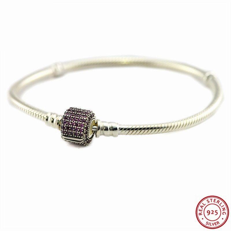 Straightforward Sterling Silver Cubic Zirconia Heart Bracelet New Jewelry & Watches