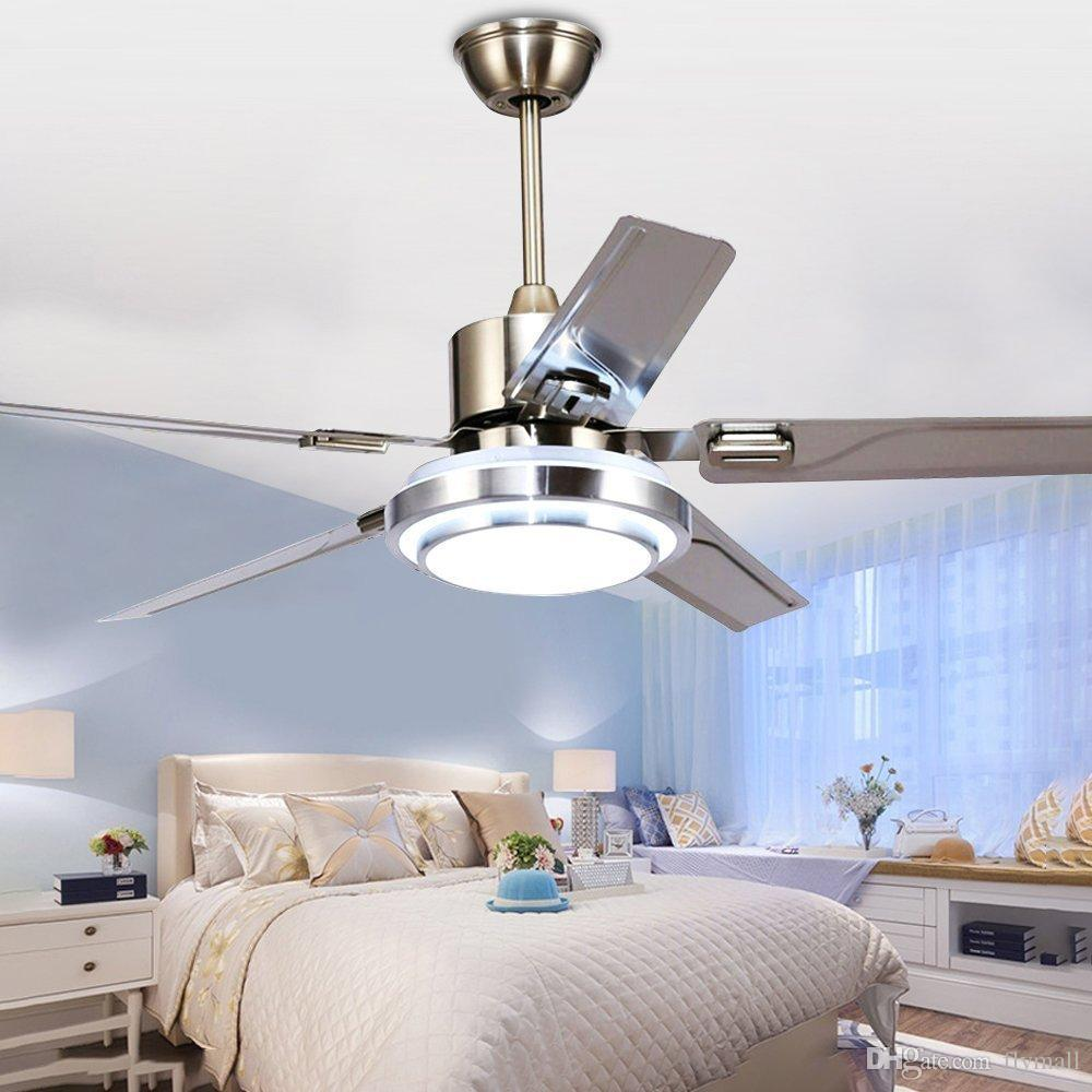 2018 48 Inch Modern Ceiling Fan Led 3 Changing Light Remote Control Home Indoor Fans Chandelier 5 Stainless Steel Reversible Blades From Flymall