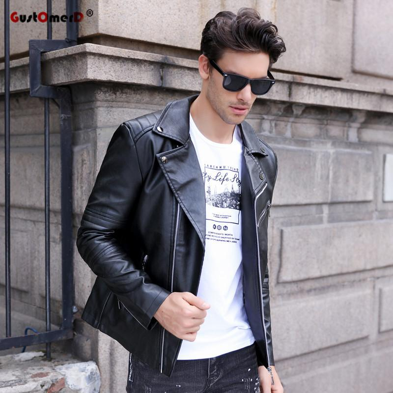 2018 Autumn Winter Casual Zipper Pu Leather Jacket Motorcycle