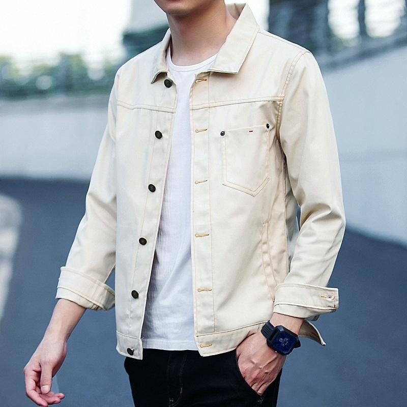 1814603911f Men S Solid Spring Summer Jacket Youth Student Youth Fashion Simple Lapel  Slim Denim Jacket Asian Size M 3XL Cool Mens Jackets Man Leather Jacket  From ...