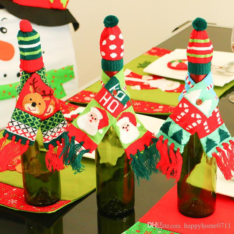Christmas Tree Santa Claus And Elk Pattern Red Wine Bottle Champagne Bottle  Decorative Scarf And Hat Knit Tassel Set Beyblade Party Supplies Birth  Party ... 246887733e1