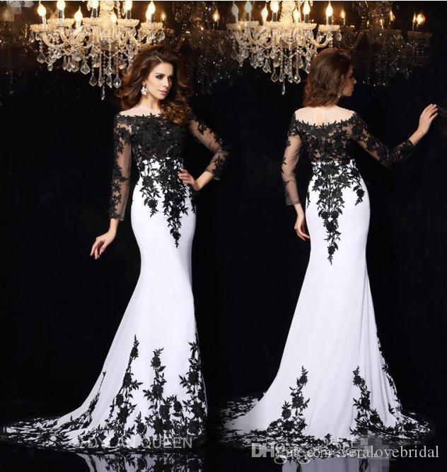 Vestidos de fiesta formal de encaje blanco y negro Vestidos de noche mangas largas fuera del piso de hombro Vestidos de fiesta larga ocasión especial