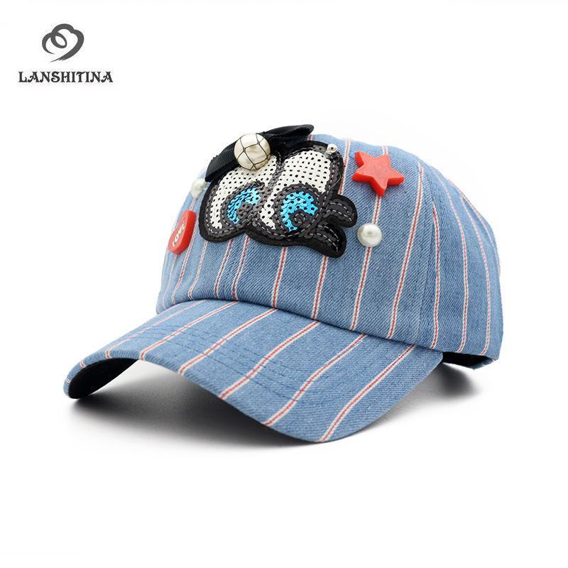 3e431a939afd07 Summer Denim Striped Baseball Caps Women Casquette Snapback Gorras Cute Eye Cap  Ladies Girls Sunhat Travel Sunshade Cap Cool Hats Lids Hats From Duoyun, ...