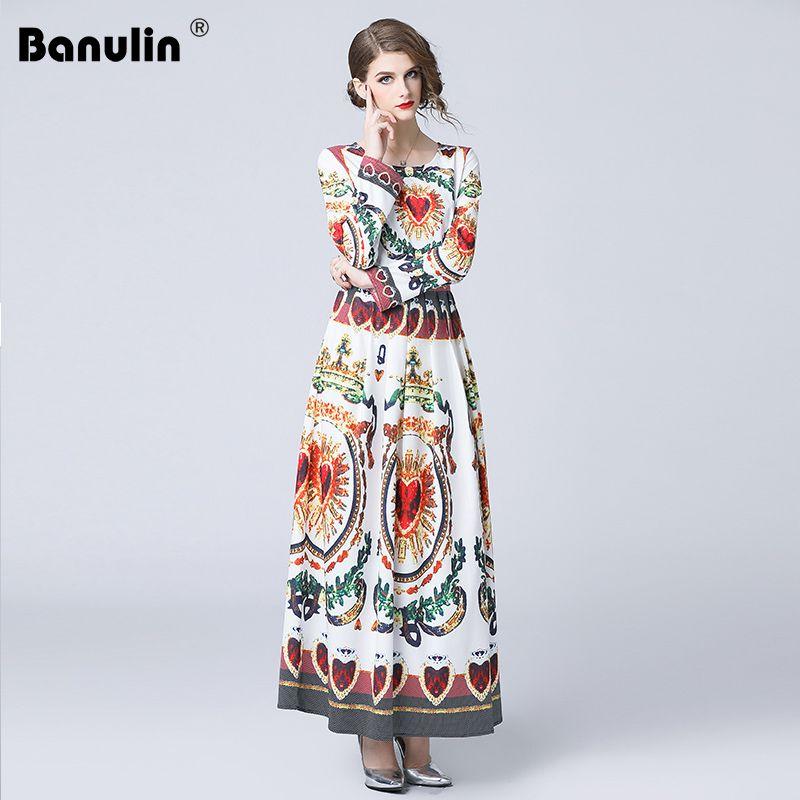 594e0cd408 Banulin High Quality New 2018 Fashion Designer Runway Maxi Dress Long  Sleeve Women s O-Neck Floral Print Vintage Long Dress