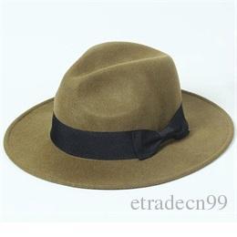 Classic Men Wide Brim 7cm Brown Wool Fedora Hats for Spring Fall Winter Women Grey Woolen Felt Fedoras Caps Wholesale Nice Mens Red Hat