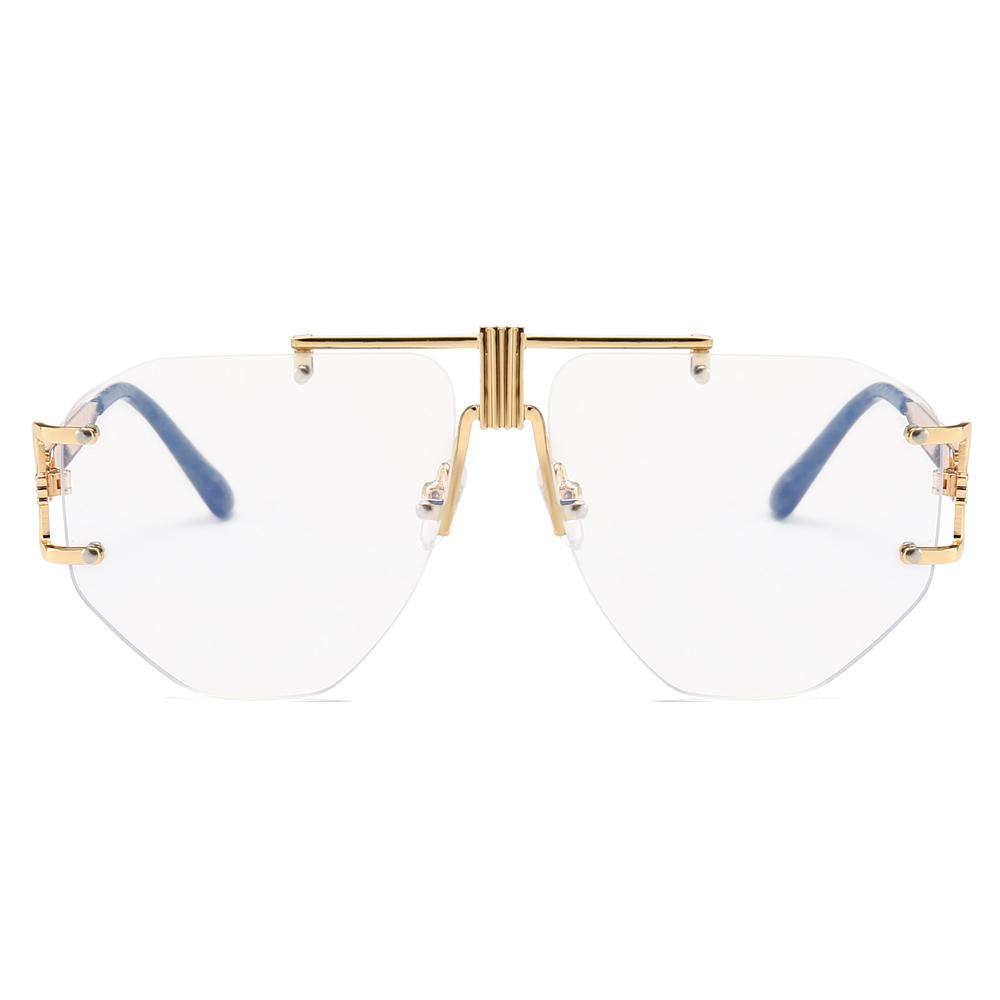 690e5c5b73cc4 Gold Rimless Glasses Women Brand Designer Clear Lens 2019 Oversized  Eyeglasses Frame Men Retro Metal Clear Lens Sunglasses NX Mirrored  Sunglasses Heart ...