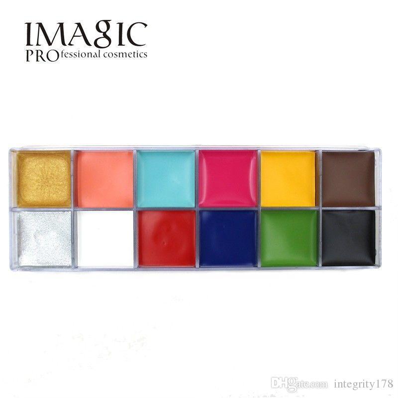 Imagic 12 ألوان فلاش الوشم الوجه الجسم الطلاء النفط اللوحة فن استخدامها في هالوين حفلة تنكرية الجمال ماكياج أداة