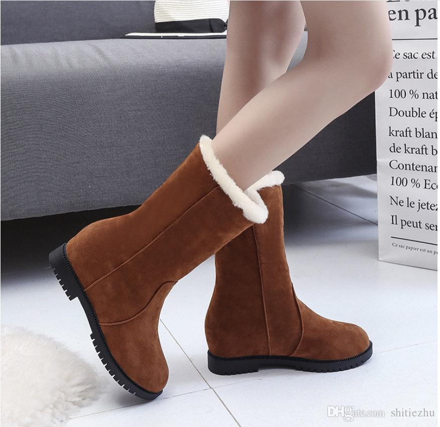 a58b47ac8639 New Fashion Tall Winter Boots Female Suede Hombre Martin Boots Low Heel  Nubuck Leather Vintage Casual Boots Black Brown Red Female Shoe Shoes  Online Combat ...
