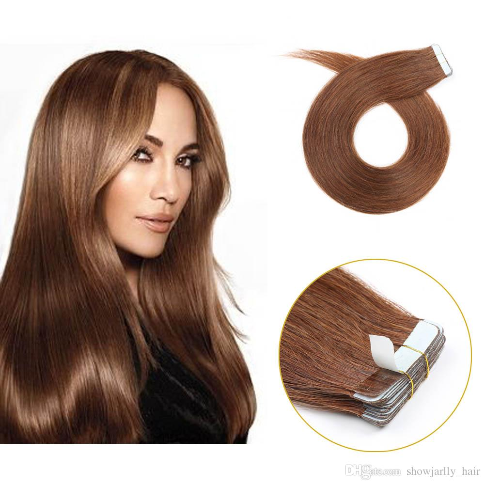 Showjarlly 6 Chestnut Brown Invisible Adhesive Seamless Skin Weft