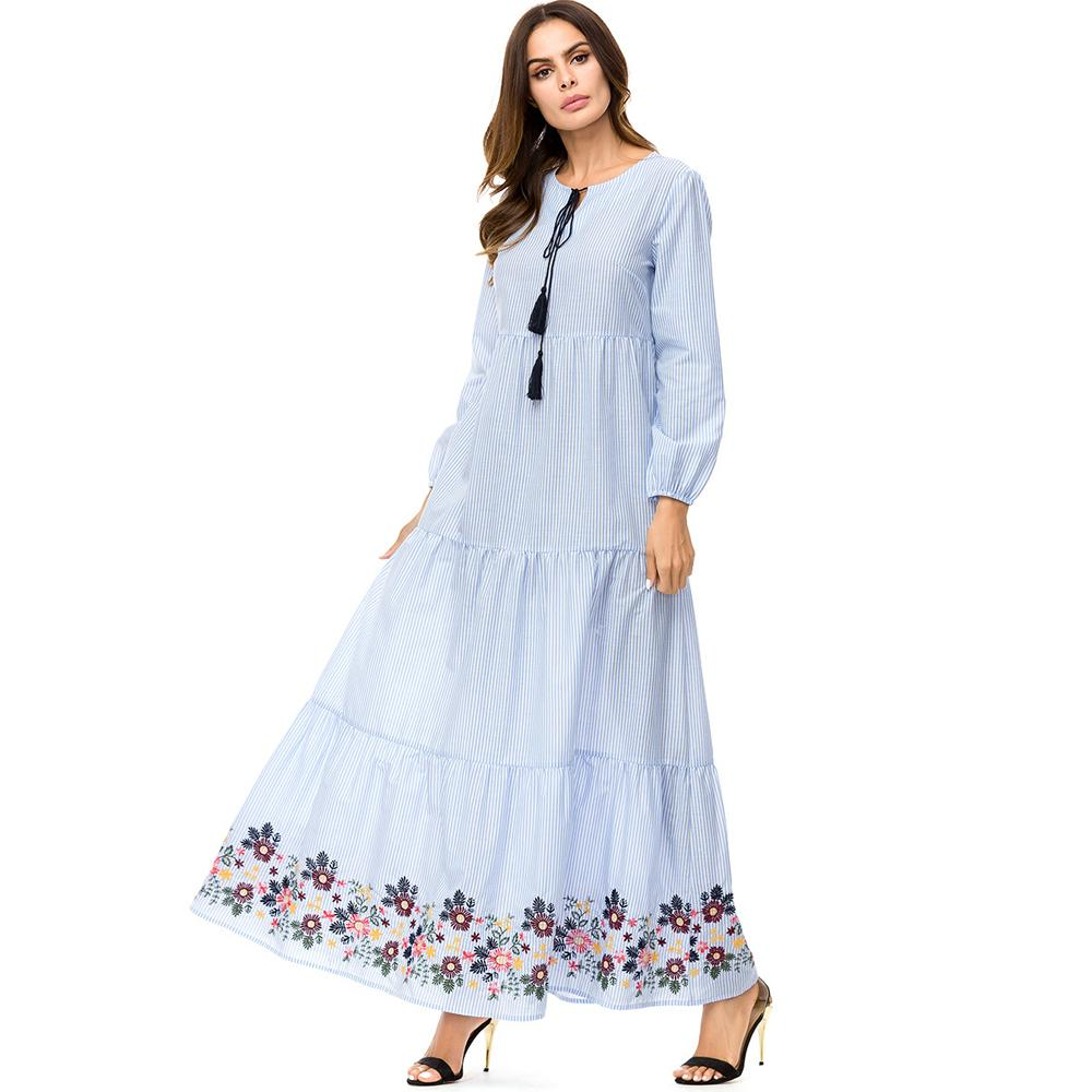 8e1de1a6f57 2019 2018 Fall Middle East Muslim Women Fashion O Neck Long Sleeve Casual  Loose Elegant Dinner Party Embroidery Large Pendulum Long Dress From ...