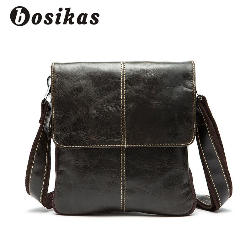 BOSIKAS Genuine Leather Men Bag Cow Leather Crossbody Bags Shoulder Men  Messenger Bags Small Casual Designer Handbags Man Leather Tote Bags Clutch  Purse ... ca769e558c4f6