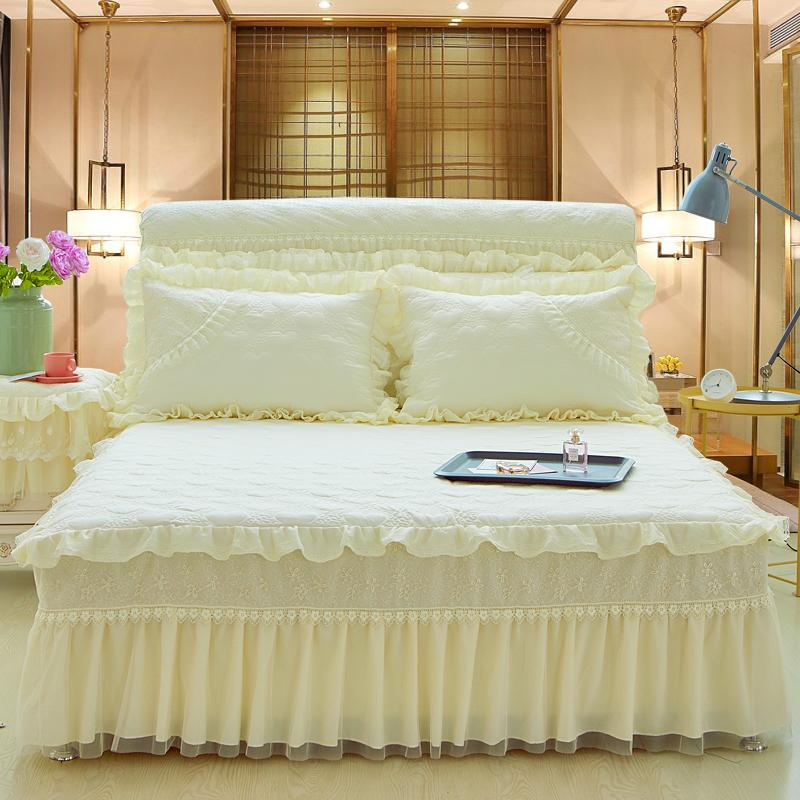 Home Decorative Bed Skirt Full Queen King Size Princess Lace Pink Beige  Purple Bedspread Pillowcase King Bedskirts Queen Size Bedskirt From  Dalihua 60366f5b3