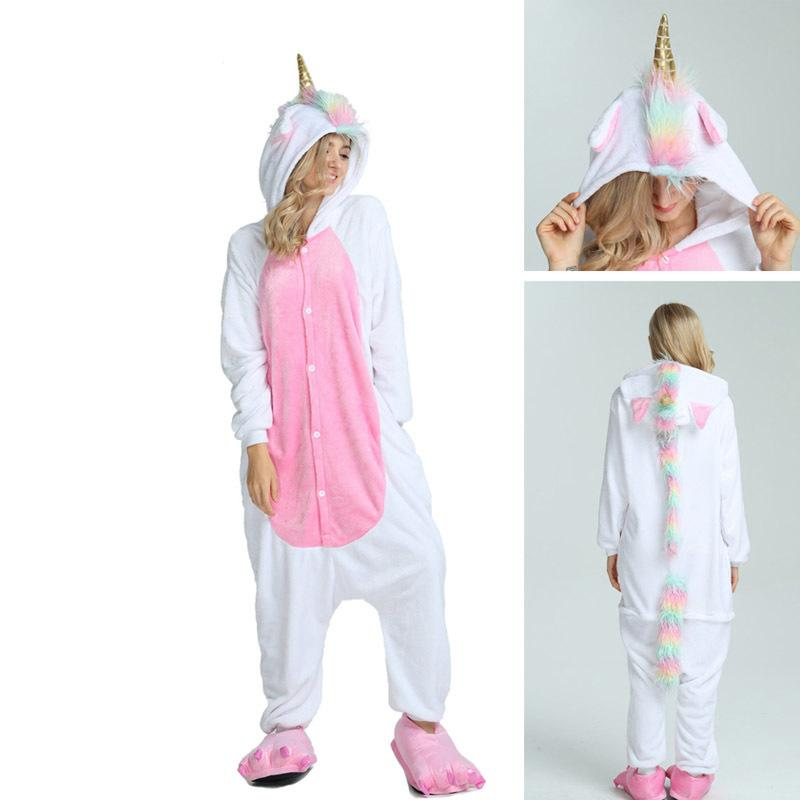 f2fff74fdd6c 2019 2018 New Onesie Wholesale Animal Kigurumi Stitch Star Unicorn Onesies  Adult Unisex Women Hooded Sleepwear Adult Winter FlannelY1882201 From  Zhengrui05
