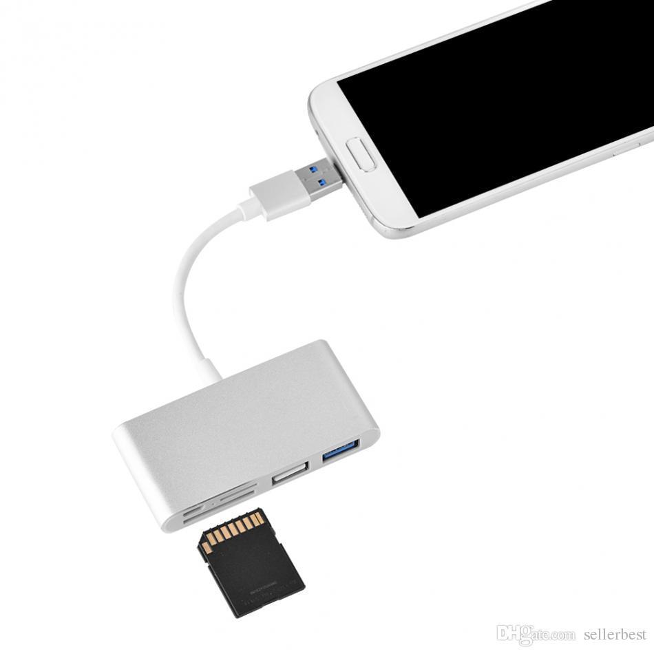 Multifunción USB-C OTG Combo 2 en 1 Micro USB + USB 3.0 OTG USB Hub Soporte SD / TF Micro SD Card Reader Función Envío gratuito